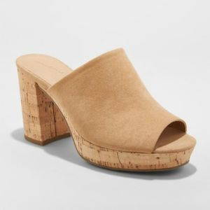 Universal Thread Cork Mules Open Toe Block Heel